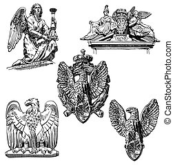 sketch drawing winged element angel and eagle - set of black...