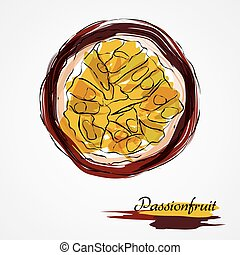 Passionfruit - Hand drawn vector purple ripe part of...