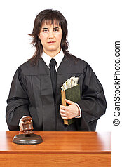 Justice accepting a bribe - A female judge in a courtroom...