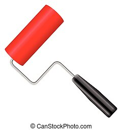 paint roller - Paint roller on a white background