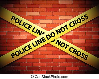 police line background - Yellow police line tape on a brick...