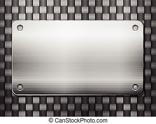 carbon background and metal plate