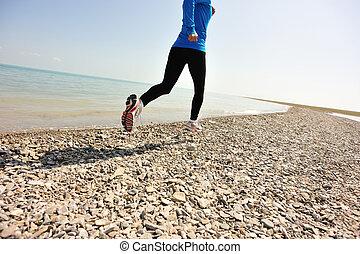 corredor, atleta, Ao ar livre, Executando