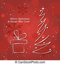 vector greeting card with christmas tree