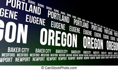 Oregon State Major Cities Banner - Animated scrolling banner...