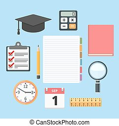 Education Objects - Set of different education objects, flat...