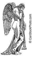 black and white sketch drawing of marble statue angel -...