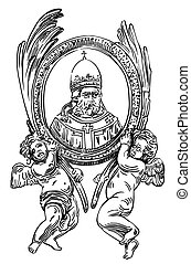 drawing of frame with two angel and portrait priest
