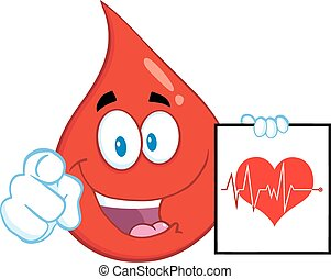 Red Blood Drop Character Pointing With Finger And Presenting...