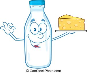 Milk Bottle Holding Yellow Cheese - Funny Milk Bottle...