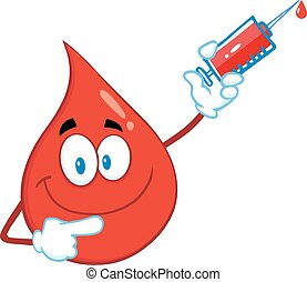 Red Blood Drop Holding Up A Syringe - Red Blood Drop Cartoon...