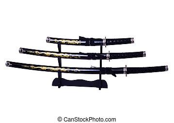 samurai, espadas, aislado,