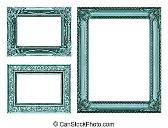 blu, ritaglio,  set, vendemmia, cornice, spazio,  3, vuoto, percorso