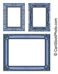 set 3 of Vintage blue frame with blank space, clipping path.