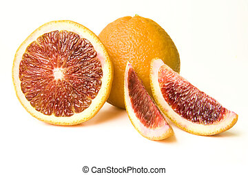 Blood Oranges - A collection of fresh Whole and sectioned...