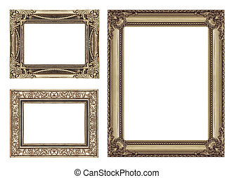 set 3 of Vintage brown frame with blank space, clipping path...