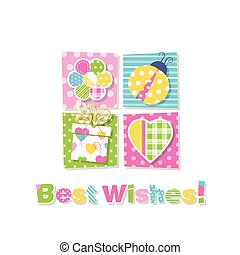 best wishes greeting card - illustration of flower, ladybug,...