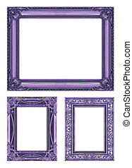 set 3 of Vintage purple frame with blank space, clipping path.
