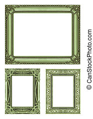 set 3 of Vintage green frame with blank space, clipping path.
