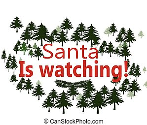 Santa is watching - Rubber stamps with text Santa is...
