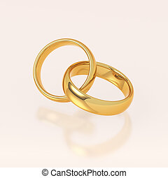Two golden wedding rings on pink background. Love and...