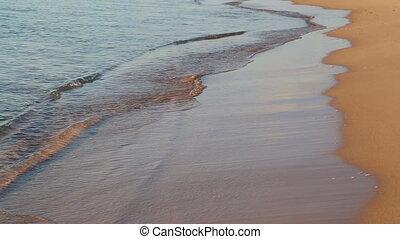 sea waves and sand beach at dawn