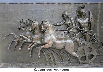 Achillion Palace Bronze Relief - An antique bronze relief...