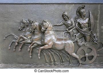Achillion Palace Bronze Relief - An antique bronze relief...