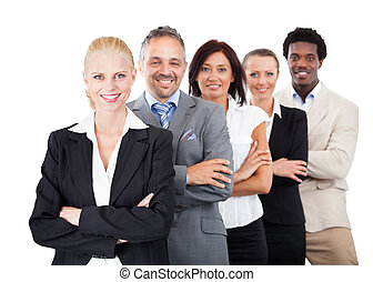 Businesspeople Standing Arms Crossed Over White Background -...