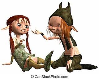 Little Female and Male Troll - 3D Render of an Little Female...