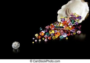 diamante, y, Gemas, De, ostra,