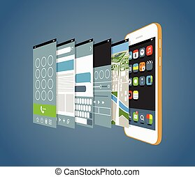 Modern smartphone with different application screens. Design...