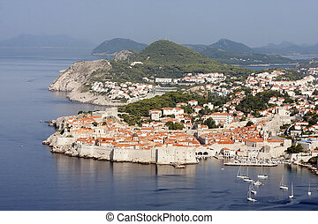 Dubrovnik Croatia - Scenic aerial view of the walled city of...