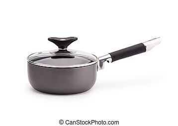 Non-stick sauce pan on white background - Non-stick sauce...