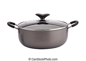Non-stick sauce pan on white background - Non-stick gray...