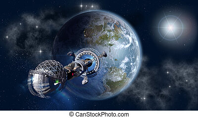 Interstellar spaceship leaving Earth as a 3D concept for...