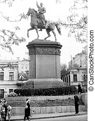 Kiev Nikolay Schors Monument 1964 - Old black and white...