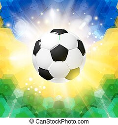 Soccer football poster Mosaic background in Brazil flag...