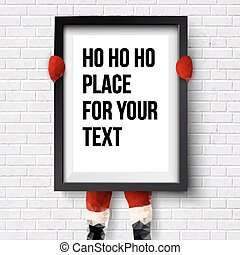 Winter holidays template. Santa is holding a frame with place fo