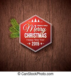 Typographic label for Merry Christmas and Happy New Year. Use it