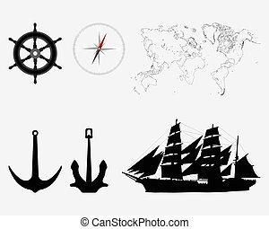sailboat - World map, compass, anchors, rudders and sailboat