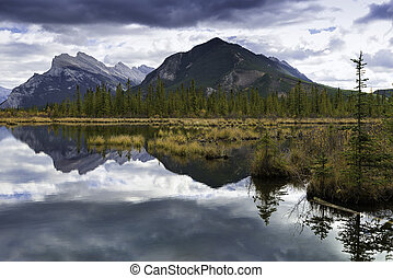 Vermilion Lakes and Mount Rundle - A view across Vermilion...