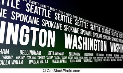 Washington State and Major Cities - Animated scrolling...