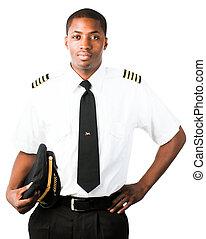 joven, piloto, aislado, blanco