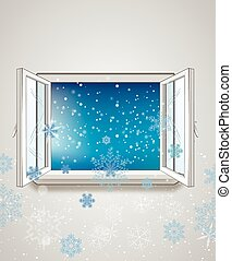 open window and snow - Winter outside Its cold outside Its...