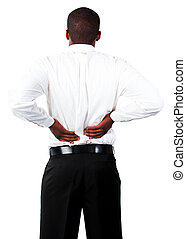 Muscular man with backpain - Young Muscular man with...