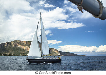 Boat in sailing regatta Luxury yachts at the Sea