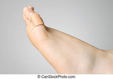 closeup, de, Um, gesso, ligado, femininas, dedo pé,