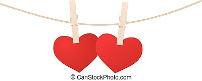 Hearts and clothespins - Red hearts with clothespin hanging...