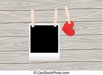 Photos on the clothespin - Vintage photos frame on the...